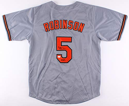 Brooks Robinson Autographed Gray Baltimore Orioles Jersey - Hand Signed By Brooks Robinson and Certified Authentic by JSA - Includes Certificate of Authenticity - Inscribed HOF 83