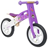 BIKESTAR Original Safety Wooden Lightweight Kids First Balance Running Bike with air tires for age 3 year old girls | 12 Inch Edition | Candy Purple & Diamond White