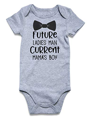 BFUSTYLE Infant Baby Boys Girls Unisex Pregnancy Reveal Bodysuit Future Ladies Man Current Mama's boy Sports Onesie Solid Cotton Summer Gray One-Piece Jumpsuit Sunsuit 1/2 Birthday Romper 3-6 Months