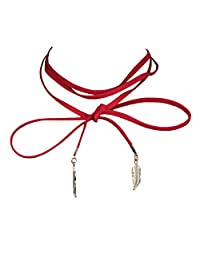 Red Faux-Suede Cord String Wrap Bolo-Tie Lariat Choker Necklace With Gold Leave CK26