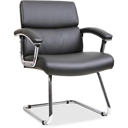 Lorell Sled Base Leather Guest Chair, Black