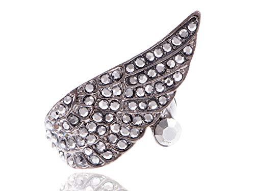 - Jet Black Crystal Rhinestone Angel Wing Wrap Fashion Jewelry Costume Adjust Ring