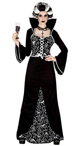 Ladies Sexy Long Full Length Black/White Royal Vampire Halloween Fancy Dress Costume Outfit (UK 10-12)
