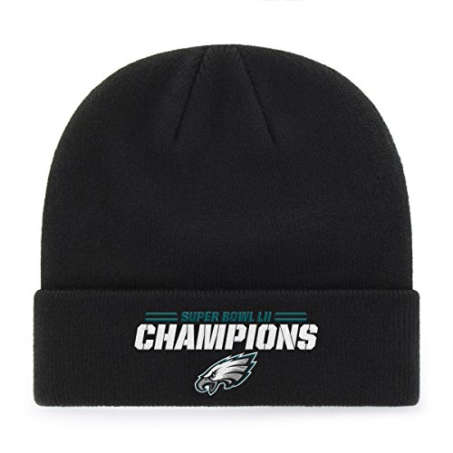 Super Bowl Limited Edition Football (NFL Philadelphia Eagles Super Bowl SB52 Champions OTS Raised Cuff Knit Cap, Black, One Size)