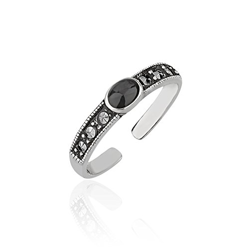 Chuvora 925 Sterling Silver Frames Round Black Resin Marcasite Decorated Band Gemstone Open Ended Toe - Black Toe Ring