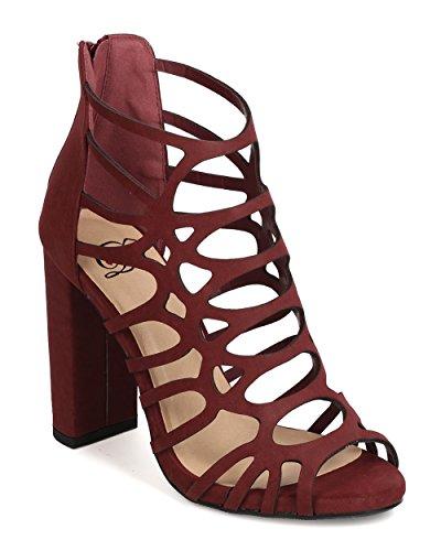 Delicious FI60 Women Nubuck Peep Toe Caged Block Heel Sandal - Burgundy