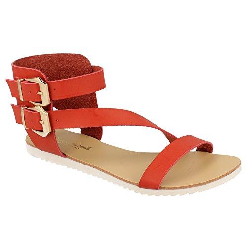 Savannah Sandalia Modelo Gladiator con Tiras con Hebilla Para Mujer Rojo