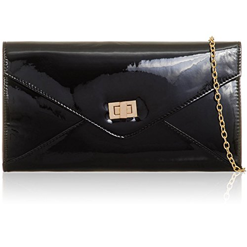 For Leather Strap Black Shaped Xardi Nights Designer London Metallic Shoulder Large Patent Ladies Bag Women with Mirror Evening Clutch Envelope Handbags Ball Party Prom qwgZxXBnw