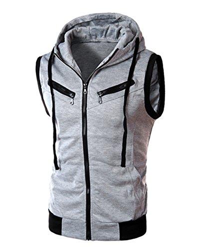 LemonGirl Men's Lightweight Sleeveless Zipper Vest Hoodie Gym Workout Tops