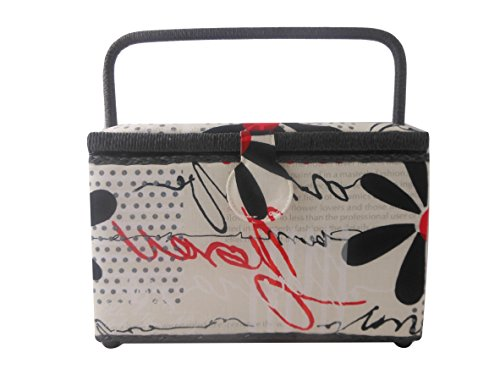 Dritz St Jane Sewing Basket Medium Rectangle Sewing Box (11x8x7, Modern Scribbles Creme & Black & Red) by Dritz