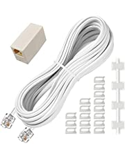 Phone Extension Cord 25 Ft, Telephone Cable with Standard RJ11 Plug and 1 in-Line Couplers and 20 Cable Clip Holders, White