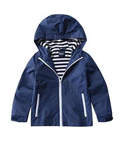M2C Boys & Girls Hooded Windproof Jacket Water Resistant Light Windbreaker 6/7 Navy
