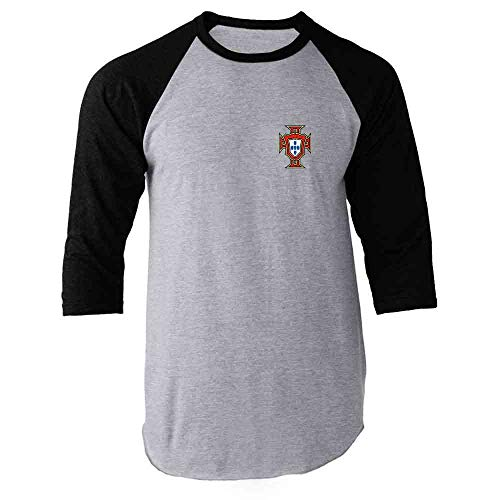 (Portugal Soccer Retro National Team Football Black L Raglan Baseball Tee Shirt)