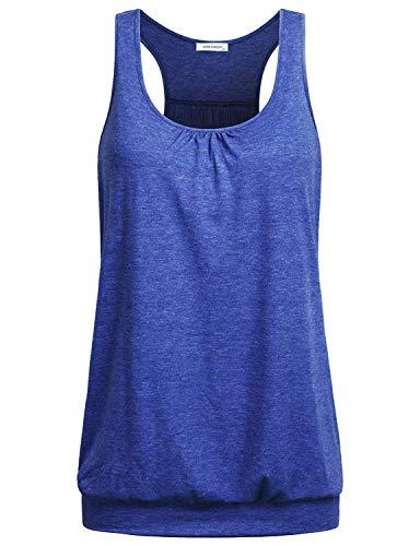 NOBLEMOON YogaTankTopsforWomen, Women's Sleeveless Round Neck Loose Fit Racerback Workout Yoga Tank Top,l Size Blue