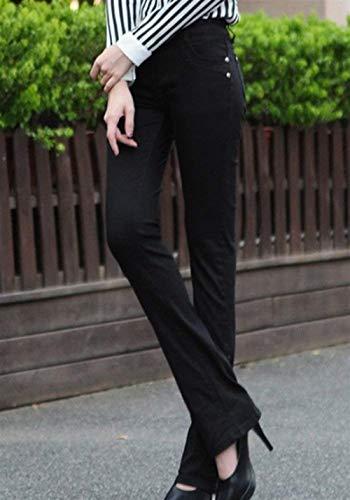 Casual Casuales Schwarz Acampanados Sólido Color Stretch Pantalones Slim Mujer Micro Jeans Fit Bolsillos Con Botón De Skinny CZwfqRX