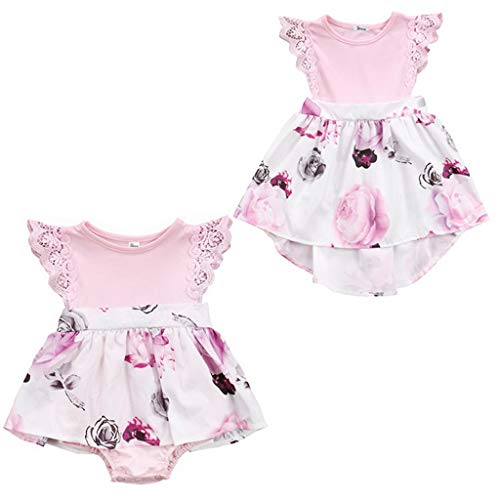 Fashion Family Matching Toddler Kids Girl Newborn Baby Sisters Lace Floral Ruffles Sunsuit Outfit Sundress Clothes Dress 2-3 T]()