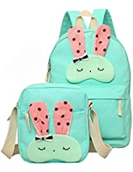 Moonwind Canvas Cute 2pcs Girls Backpack Shoulder School Book Bags Set for Teens