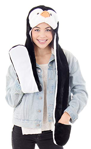 Simplicity Cute Penguin Hats Caps Animal Beanie Hats with Scarf and Gloves