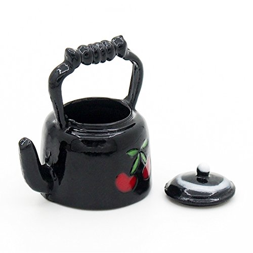 Cherry Kettle - Odoria 1:12 Miniature Cherry Teapot Metall Kettle with Lid Dollhouse Kitchen Accessories