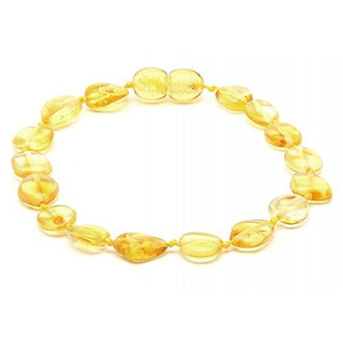 Amber Corner Baltic Amber Adult Knotted Bracelet Unisex ABB144 Polished Lemon 19cm Round Flat Beads By - Polished Lemon