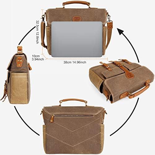 Manificent Laptop Messenger bag for Mens 15.6 Inch, Waterproof Vintage Genuine Leather Mens Briefcase shoulder bag 16 Storage Pockets, Waxed Canvas Leather Computer Business Satchel Work Bag (Brown Ok)