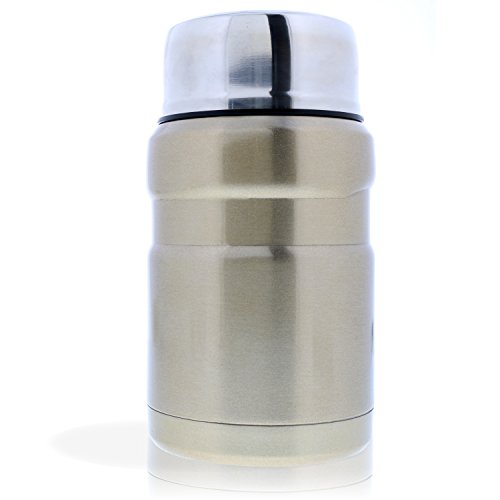 Leakproof Thermos Food Jar and Spoon - (Gold) For Fresh Hot and Cold Food On The Go - Made from Dependable Stainless Steel and Vacuum Insulated For Maximum Temperature Retention - 2 Stylish Colors