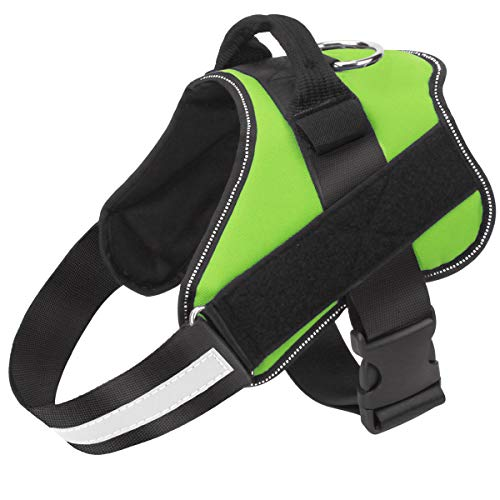 Dog Harness No Pull Reflective Adjustable Pet Vest with Handle for Outdoor Walking- No More Pulling, Tugging or Choking(Green,M) ()