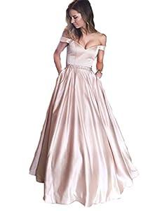 Off Shoulder Long Prom Dresses Beaded 2018 Sexy V Neckline Floor Length Formal Gowns Evening Wear
