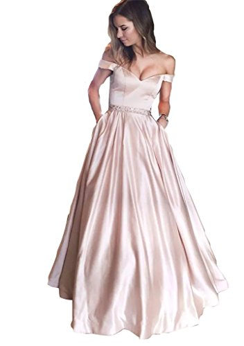 Off Shoulder Long Prom Dresses Beaded 2018 Sexy V Neckline Floor Length Formal Gowns Evening Wear PearlPink-US10 (Sexy Floor)