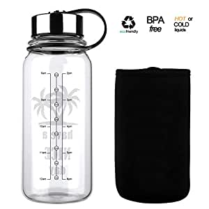 Glass Water Bottle 32 Oz, Wide Mouth Glass Water Bottle with Insulated Sleeve and Stainless Steel Strainer,Water Bottle with Time Marker for Travel Home BPA Free for Liquids Tea Coffee Daily Intake