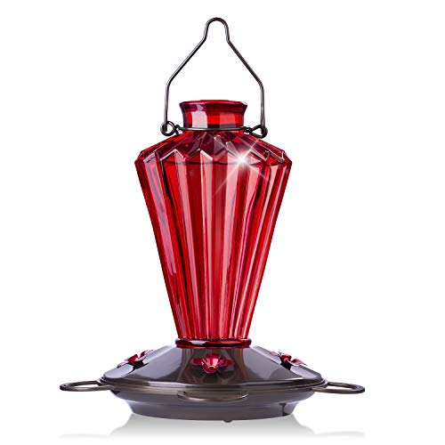 BOLITE 18017-R Hummingbird Feeder, Glass Hummingbird Feeder for Outdoors, Diamond Shape Bottle, 20 Ounces, Red