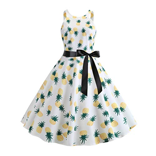 (Pongfunsy Women's Dresses Women Vintage 1950s Retro Sleeveless Belt Print Dress Summer Fashion Party Prom Swing Dress Green)