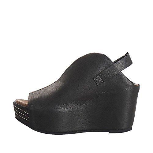 Antilop Kvinna 867 Läder Smalt Klyvnings Sandaler Svarta