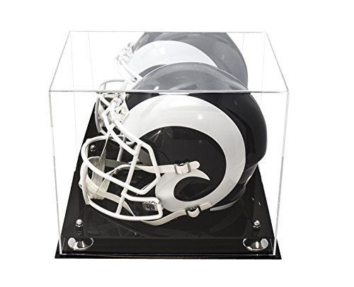 Better Display Cases Deluxe Acrylic Football Helmet Display Case with Silver Risers and Mirror (A002-SR) (Double Football Case Case)