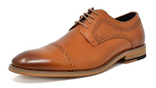 Bruno Marc Men's Waltz-1 Brown Genuine Leather Dress Oxfords Shoes Size 10.5 M - Elegant Dress Leather Shoes Brown
