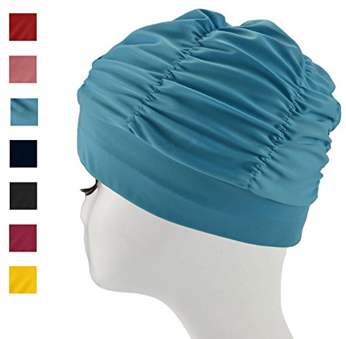 Swim Cap Long Hair Ear Wrap Waterproof Hat For Women And Men  Blue