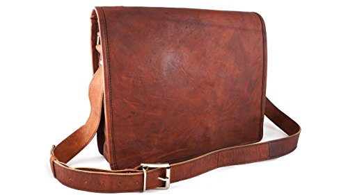 13'' Handmade Craft Distressed Leather Messenger Satchel Bag for Laptop Briefcase Old School by Terra Negra Studio