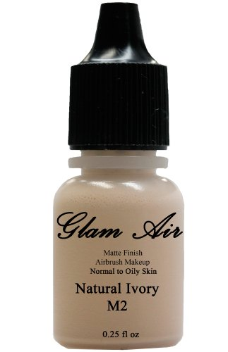 Glam Air Airbrush Makeup Water Based Foundation in Matte Finish for Flawless Looking Skin (0.25oz Bottles) (M2 NATURAL IVORY)