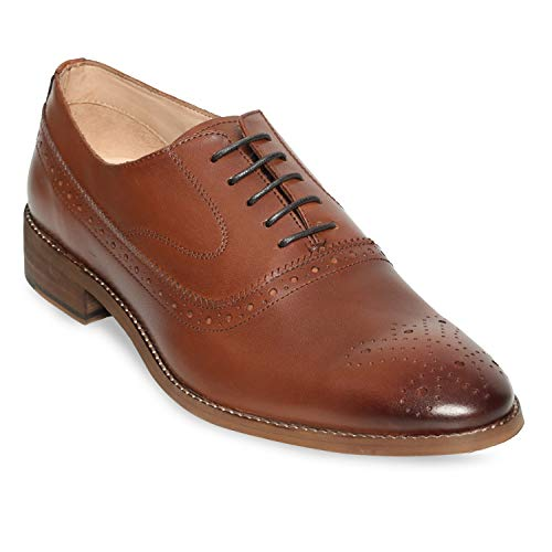 Urbane Shoes Co Genuine Cowhide Leather Shoes Mens Dress Shoes Oxford Shoes Men Perforated Classic Brogue Wing-Tip Lace Up Tan