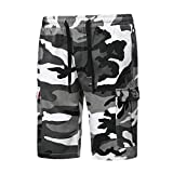 Ninasill Hot!Men's Camouflage Print Tooling Shorts Multi-Pocket Tethered Sports Shorts Large Size Casual Fashion Pants