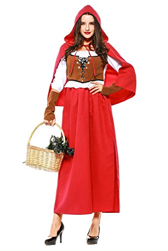 SAMCOS Halloween Little Red Riding Hood Costumes Plus Size Dress Cosplay Robe for Women Adults (Large, Red)]()
