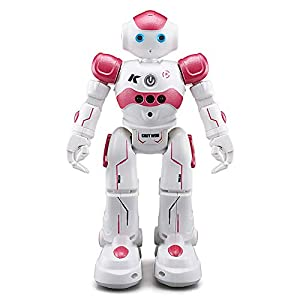ROOYA BABY Remote Control Robot, Gesture Sensor Kids RC Robot Toys Walking, Sliding, Turning, Singing, Dancing, Speaking, Programming Robot (Robot Pink)
