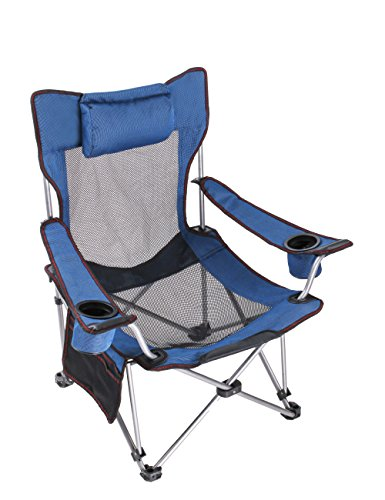 Light Weight Backpacking Reclining/Lounging Camping Folding Chair with Headrest for Outdoor Camping, RV, BBQ, Football Games (Standard Size Blue ) ¡­