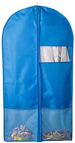 衣類セット 3セットのオックスフォードの生地の衣服袋スーツバッグ旅行や衣類の保管ドレスのシャツシャツコートジッパーと透明な窓大きいサイズが含まれています (Color : Blue, Size : 58*130cm)