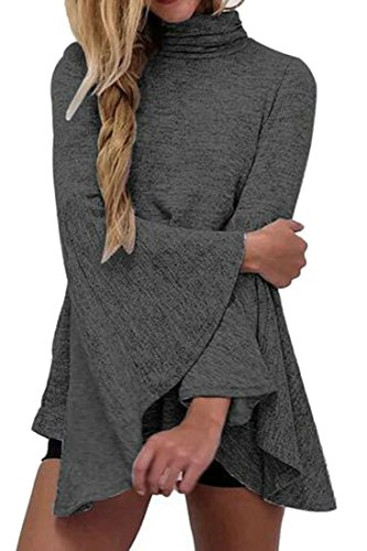 Flare Gray Color Irregular Solid Dress Tunic Loose Long Sleeve Top Cruiize Dark Womens qn5w1CqF
