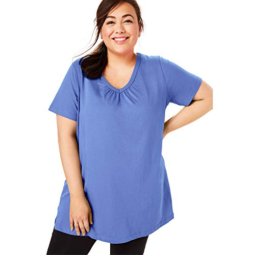 Woman Within Women's Plus Size Perfect Shirred V-Neck Tunic - Tulip Purple, 2X