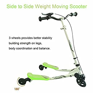 Kids Speeder 3 Wheels Tri Wiggle Scooter, Swing Trike Striker Drifter 2 Foot Foldable Push Kick Slider Y Flicker Scooter for Kids Age 5+