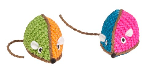 Boss Pet Chomper Kylie's Brites Two-Tone Raffia Mouse Toy fo
