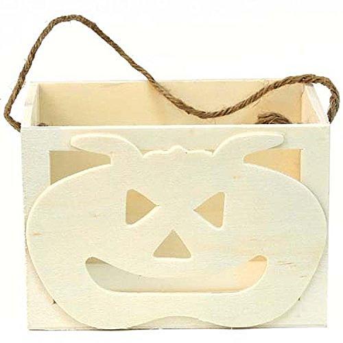 Creative Hobbies Halloween Jack-o-Lantern Pumpkin Wood Treat Box, 3.25 Inch x 4.75 Inch -