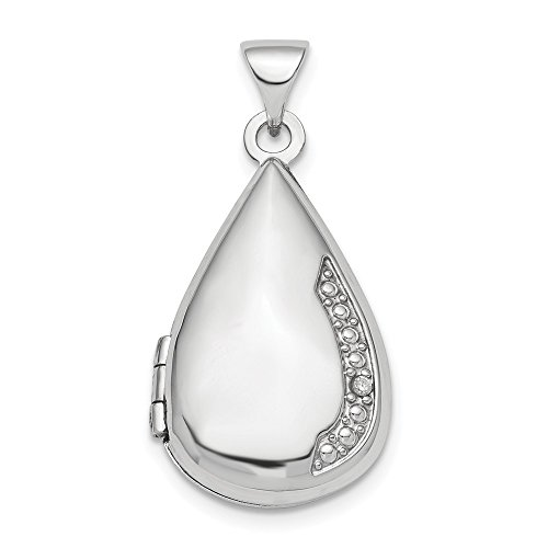 - 925 Sterling Silver Diamond 21mm Teardrop Photo Pendant Charm Locket Chain Necklace That Holds Pictures Shaped Fine Jewelry Gifts For Women For Her